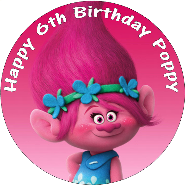POPPY TROLLS PERSONALISED EDIBLE ROUND BIRTHDAY CAKE TOPPER